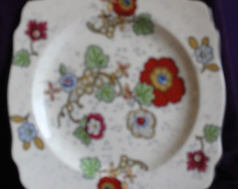 Charming Square Luncheon Plate Crown Ducal Ware England Beaumont Pattern