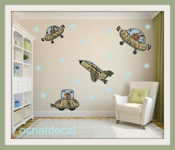 FREE SHIPPING 4 Spaceships Wall Decal & 20 Stars . Home Decor. Diy. Nursery. Art. stars Children Room.