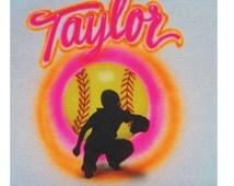 softball baseball catcher custom airbrushed t-shirt airbrush with any name