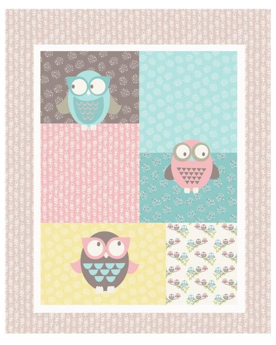 Owl fabric panel woodland walk fx13 fabric freedom baby for Baby girl fabric