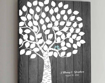75 Guest CANVAS Wedding Guest Book Rustic Wood Wedding Tree Wedding Guestbook Alternative Guestbook Poster Wedding Guestbook Poster - Wood