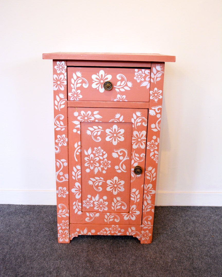 pinky painted bedside table storage cabinet. Black Bedroom Furniture Sets. Home Design Ideas