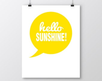 Hello Sunshine Printable Art, Hello Sunshine Art Print, Yellow Wall Decor, Yellow Printable Art