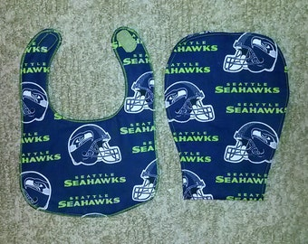 Seahawk Bib and Burp Cloth Set.
