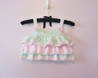 Mint and Pink Baby Ruffle Top size 2T