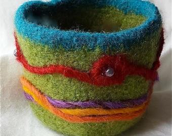 Green Folk Art Felted Bowl