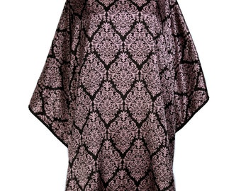 "Divine Damask Purple and Black Water Proof Hair cutting Styling Beauticians Cape Big 55 X 58""  Snap Closures"