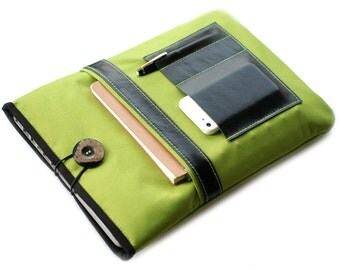 """Canvas Notebooktasche13 """"+ green black leather compartment"""