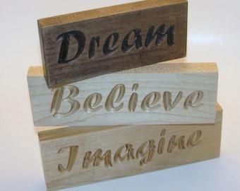 Inspirational Wood Signs Word Art Set Dream Believe Imagine