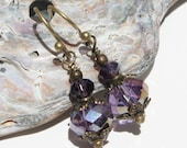 Amethyst Purple Bohemian Earring, Sorcerer Purple Earrings, Purple Gypsy Earrings, Mysterious Purple Earrings, Iridescent Eggplant Purple