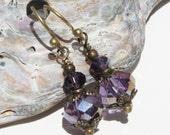 Amethyst Purple Bohemian Earring, Sorcerer Purple Earrings, Purple Gypsy Earrings, Mysterious Purple Earrings, Iridescent Eggplant Purple