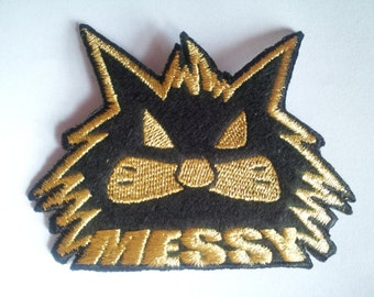 Messy Cat Gold Black applique iron on patch