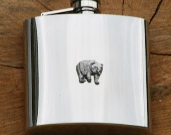 Bear Hip Flask 6oz Nature Gift FREE ENGRAVING