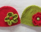 Crochet Baby Girl Flower Hat Green Red Beanie Photo Prop Baby Gift