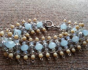 Light blue and ivory bracelet