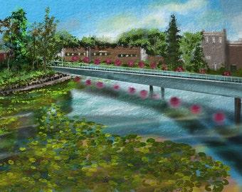 "Landscape painting print, Original digital painting   by Nancy Long, ""Millpond"" city and water. Nancylongdesigns"