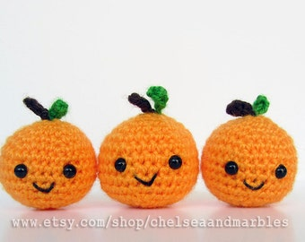 Handmade Amigurumi Crochet Play Food Clementine Gift Set of 3