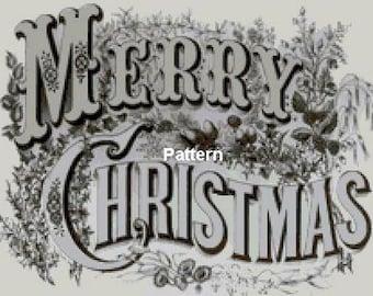 Merry Christmas. (Sepia). Cross Stitch Pattern. PDF Files.