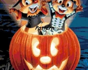 Chip and Dale Halloween. Cross Stitch Pattern. PDF Files.