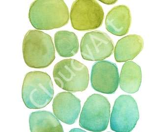 Color Study Blues and Greens No. 1 Watercolor - Giclee Print