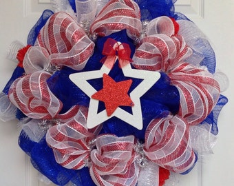 PATRIOTIC Handmade Deco Mesh Wreath Memorial Day, Fourth of July and More! Honor Our Heros!