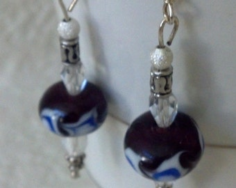 Beautiful Lapis Earrings with Clear Swarovski Crystals - SALE! 15% OFF!