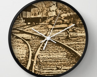 Abandoned Rail Tracks Wall Clock, Lithograph, Vintage Photography, Old Train Station, Landscape Photography, Sepia Photography
