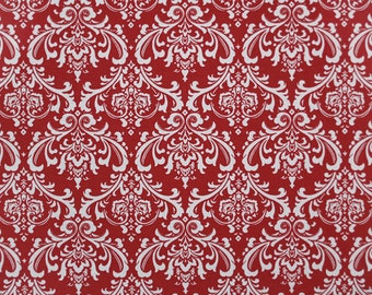 """MADISON Damask Fabric White on Lipstick Red or choice of 10 colors 54"""" wide Premier Prints Fabric By The yard decorator fabric FAST SHIPPING"""