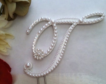 Monogram Wedding Cake Topper Pearl Cake Topper with Swarovski Crystals Destination Wedding Winter Wedding Any Letter A to Z Letter T