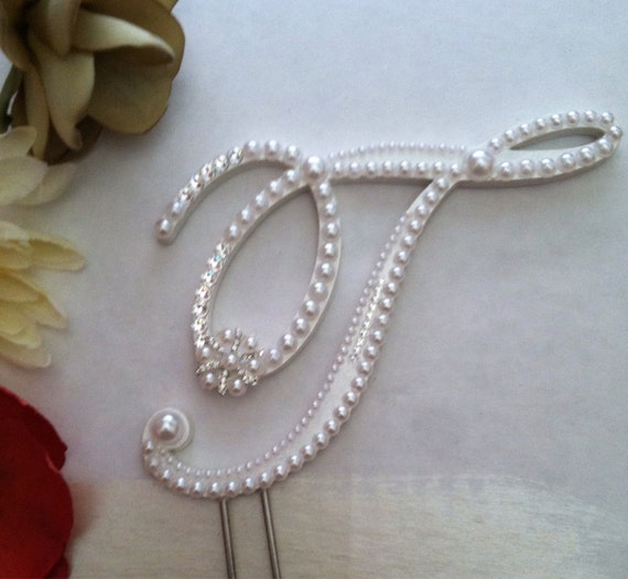 pearl initial wedding cake toppers monogram wedding cake topper pearl cake topper with swarovski 18165