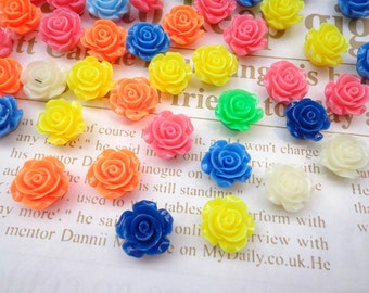 Resin Rose Flower--100 pcs Mixed colors 14 mm Rose Flowers Cabochons Cameo Base Setting