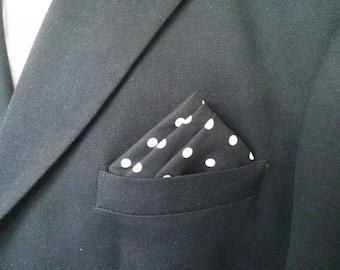 POLKA DOT POCKET Square, Black with white polka dots, dotted hanky,  men's dot hanky,  black polka dots, wedding,  dot suit hanky