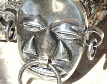 Mexico Silver Tribal Mask Brooch / Pin