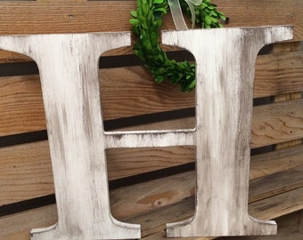 """Wedding Guestbook Big Wooden Letter H 36"""" Distressed Edges and Color Wash Optional Rustic Wedding Decor Hand Painted Custom Wedding Letter"""