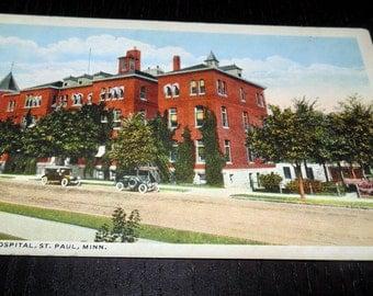 Vintage Unused Postcard St. Lukes Hospital St. Paul Minnesota Antique Cars