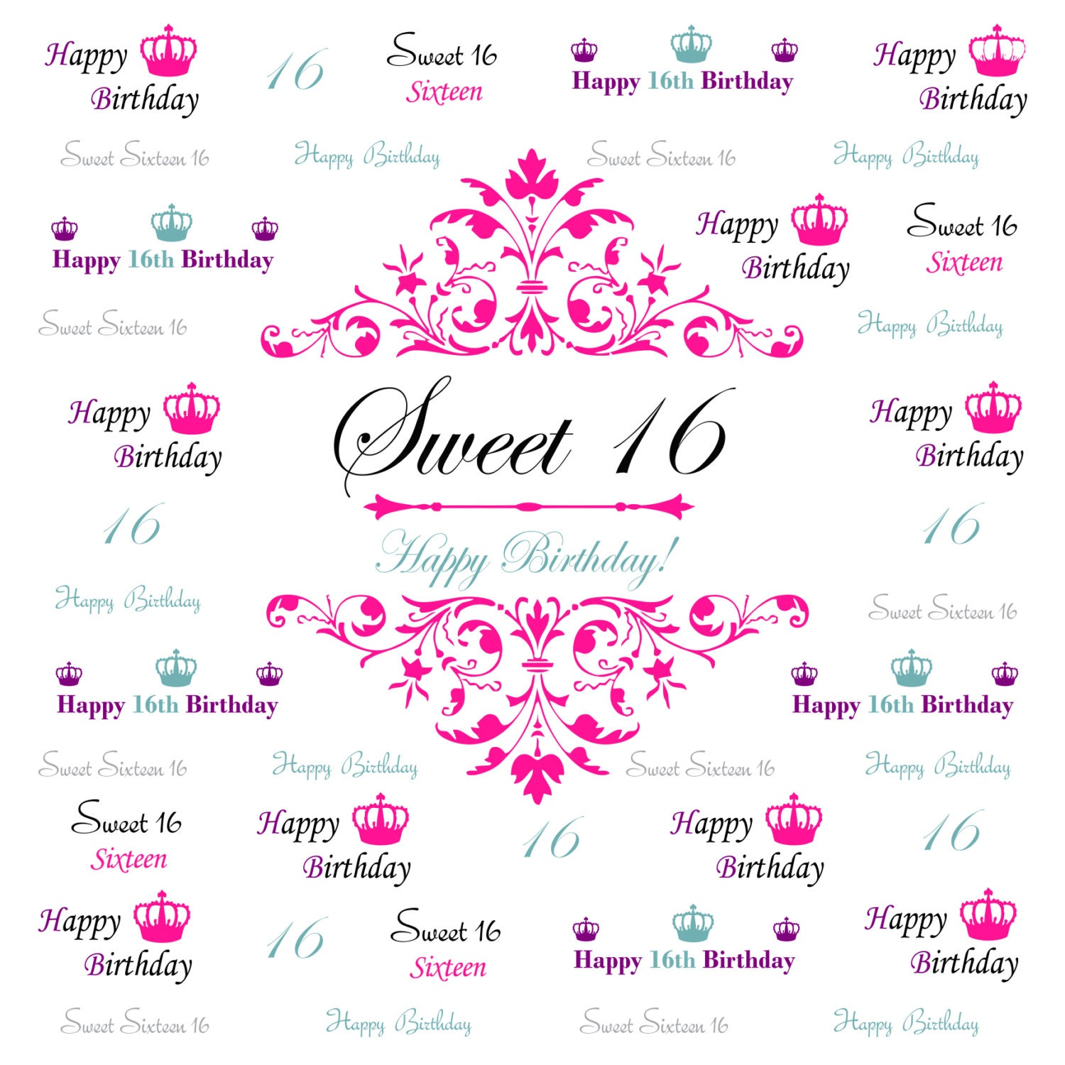 Sweet 16 Backdrop Event Step And Repeat Birthday