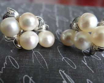 Sterling Silver Genuine Pearl Earrings