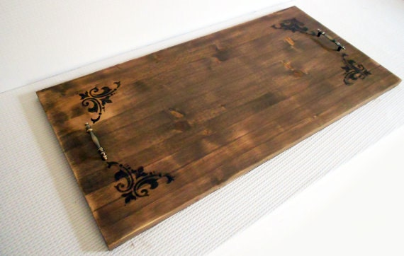 Wood lace serving tray ottoman by kikolivinggoods