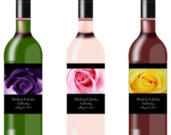 Rose Wine Bottle Labels Quantity of 10 - 6 Colours Available