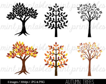 Tree Clipart, Autumn Tree Clipart Clip Art, Tree Silhouette Clipart Clip Art, Trees Family Tree - Commercial & Personal - BUY 2 GET 1 FREE!