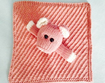 Piggy Lovey Blanket Stuffed Pig Baby Blanket Hand Knitted Lovie Blanket Baby Security Blanket Baby Shower Gift