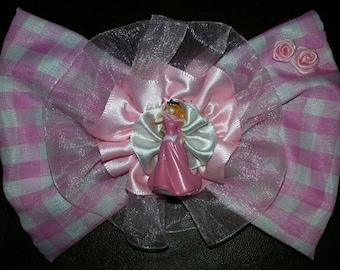 Disney Princess Aurora Sleeping Beauty Fabric Lace Satin Hair Bow Clip