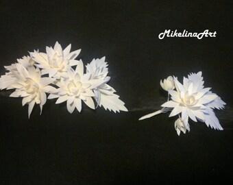 Silk Wedding Flower Set, Bridal Floral Wreath & Groom Boutonniere, Ivory.