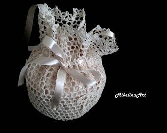 Crochet Bridal Purse,Handmade Bridal Purse,Ivory