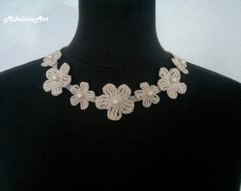 Crochet Flower Necklace,Crochet Neck Accessory,Flower Girl Necklace, Ivory, 100% Cotton.