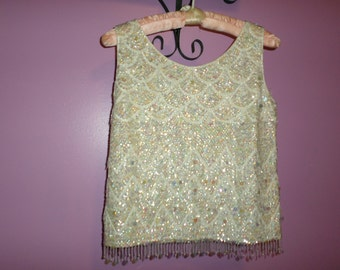 1960's vintage opalescent sequin top/ beaded sleeveless sweater Sequin shell Mad Men Evening Sequin top Size Small