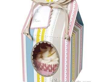 Single cupcake boxes: Stripe pack of 6 boxes