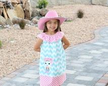 Sheriff Callie Applique Ruffle Neck Peasant  Dress, Sizes 12mo-8