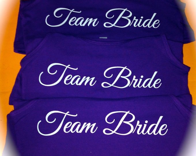 3 Purple Team Bride Shirts. Team Bride Jersey Knit Tank Tops. Non Ribbed Tank Tops. Bride to be Shirt. Matron of honor. Bridesmaid tanks.