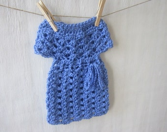 Periwinkle Blue Preemie Baby Dress 5-7 Pounds with Tie ...